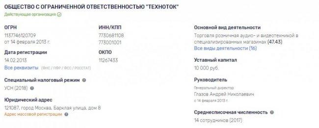 """Юридические данные интернет-магазина """"Время ТВ"""""""
