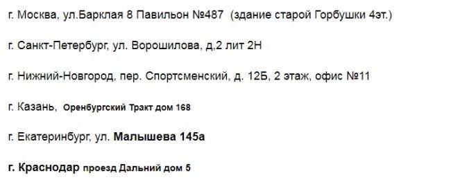 """Адреса пунктов выдачи интернет-магазина """"Время ТВ"""" в регионах РФ."""